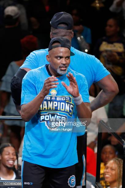 Cuttino Mobley of Power celebrates with teammates after defeating 3's Company during the BIG3 Championship at the Barclays Center on August 24 2018...