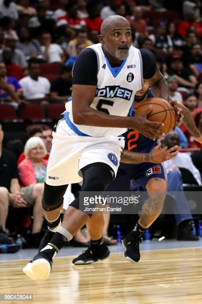 Cuttino Mobley of Power controls the ball against 3's Company during week two of the BIG3 three on three basketball league at United Center on June...
