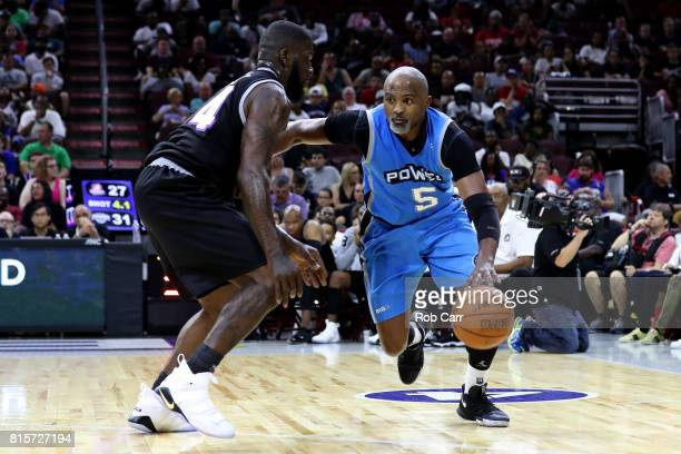 Cuttino Mobley of Power handles the ball against Ivan Johnson of the Ghost Ballers during week four of the BIG3 three on three basketball league at...