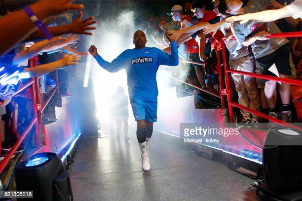 Cuttino Mobley of Power is introduced before the game against the Ball Hogs during week five of the BIG3 three on three basketball league at UIC...