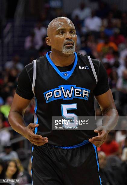 Cuttino Mobley of Power reacts after beinf called for a foul against Killer 3s during week two of the BIG3 three on three basketball league at...
