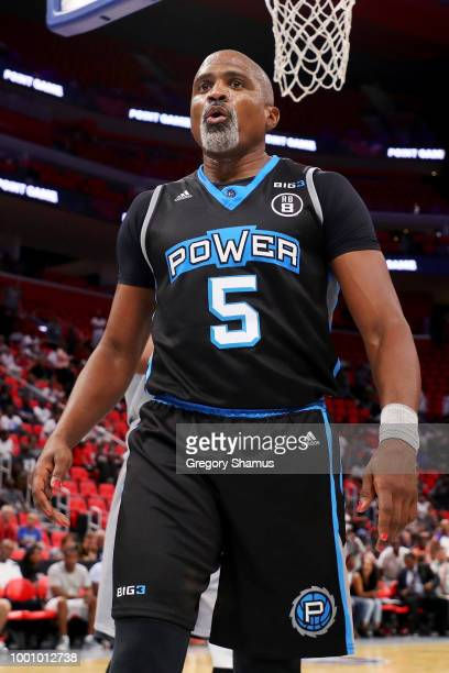 Cuttino Mobley of Power reacts during the game against the Ghost Ballers during BIG3 Week Four at Little Caesars Arena on July 13 2018 in Detroit...