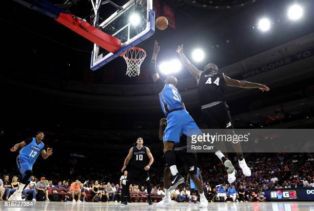 Cuttino Mobley of Power shoots against Ivan Johnson of the Ghost Ballers during week four of the BIG3 three on three basketball league at Wells Fargo...
