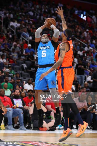 Cuttino Mobley of Power shoots over Dermarr Johnson of 3's Company during week one of the BIG3 three on three basketball league at Little Caesars...