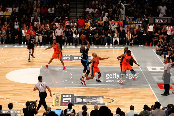 Cuttino Mobley of Power shoots the game winning basket against the 3's Company during the BIG3 Championship at the Barclays Center on August 24 2018...