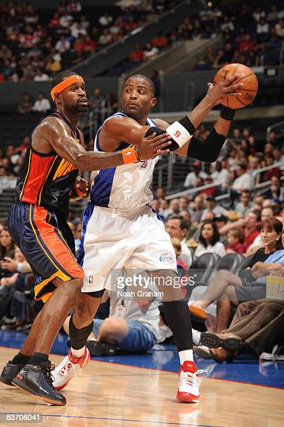 Cuttino Mobley of the Los Angeles Clippers holds the ball against Stephen Jackson of the Golden State Warriors at Staples Center on November 15 2008...