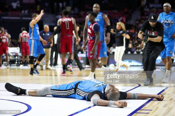 Cuttino Mobley of the Power celebrates after scoring the gamewinning basket against the Tri State during week two of the BIG3 three on three...