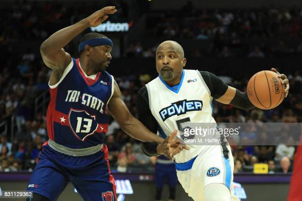 Cuttino Mobley of the Power drives with the ball against Lee Nailon of the TriState during week eight of the BIG3 three on three basketball league at...
