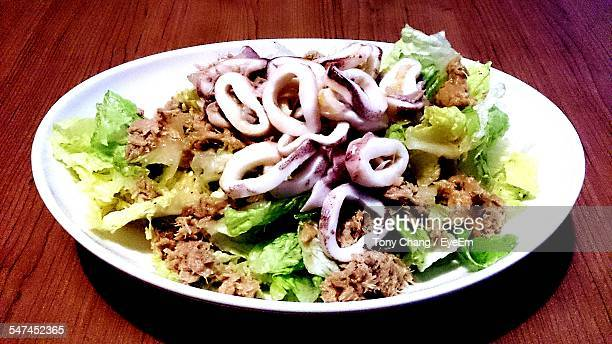 Cuttlefish Salad In Plate On Table
