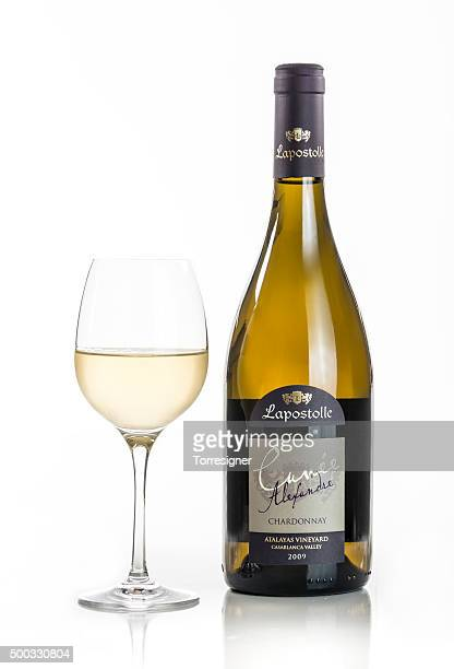 cuvée alexandre chardonnay with glass - chardonnay grape stock photos and pictures
