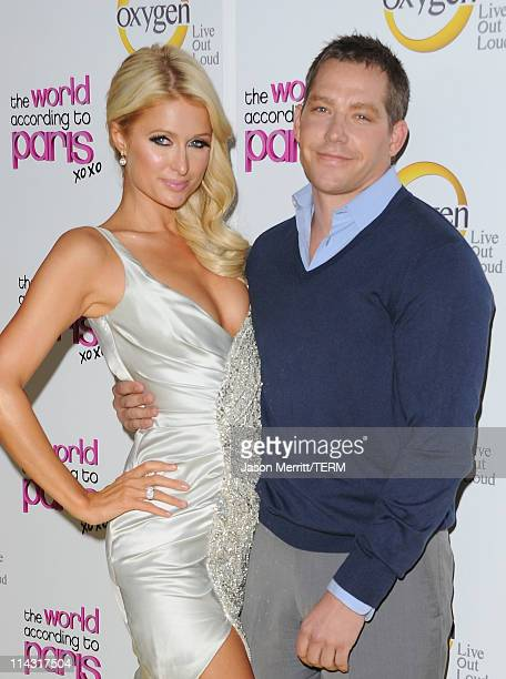 Cy Waits and Paris Hilton arrive at the premiere of Oxygen's new docuseries The World According to Paris at Tropicana Bar at The Hollywood Roosevelt...