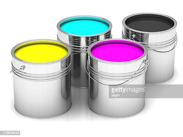cyan, magenta, yellow and black paints in  cans - four objects stock pictures, royalty-free photos & images