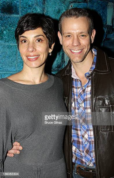 Cybele Chivian Pascal and husband Adam Pascal pose backstage at the hit musical Memphis on Broadway at The Shubert Theater on December 22 2011 in New...
