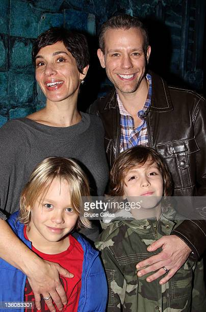 Cybele Chivian Pascal husband Adam Pascal and sons Lennon and Montgomery pose backstage at the hit musical Memphis on Broadway at The Shubert Theater...