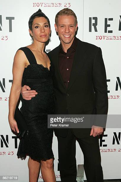 Cybele Pascal and actor Adam Pascal arrives for the premier of the movie Rent at the Ziegfeld Theater on November 17 2005 in New York City