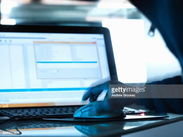 cyber attack, cyber hacker accessing somebody elses computer programme - computer virus stock pictures, royalty-free photos & images