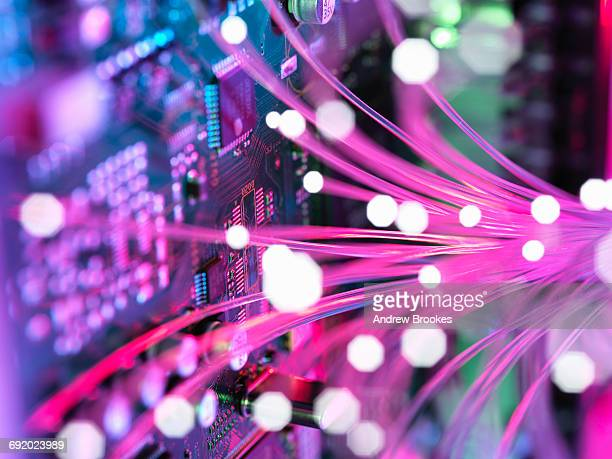 Cyber attack with fibre optics shooting past electronics of broadband hub