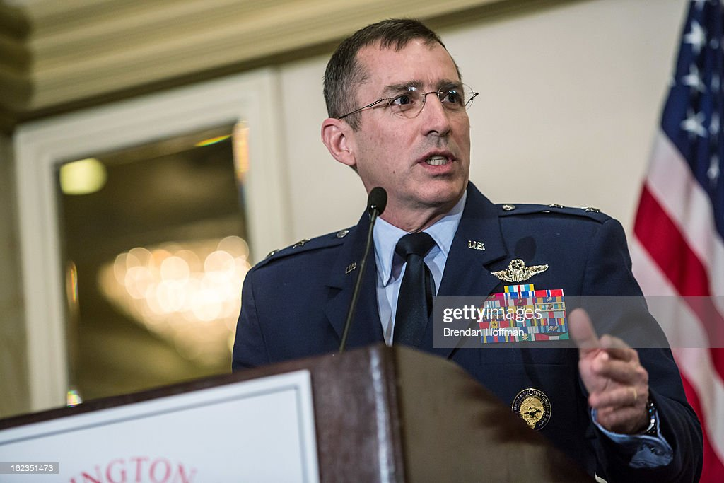 U.S. Cyber Command Director of Operations Maj. Gen. Brett Williams delivers the keynote address at the Armed Forces Communications and Electronics Association conference on February 22, 2013 in Washington, DC. The event addressed the theme of cyber preparedness as attacks by governments and criminal networks alike become more common.