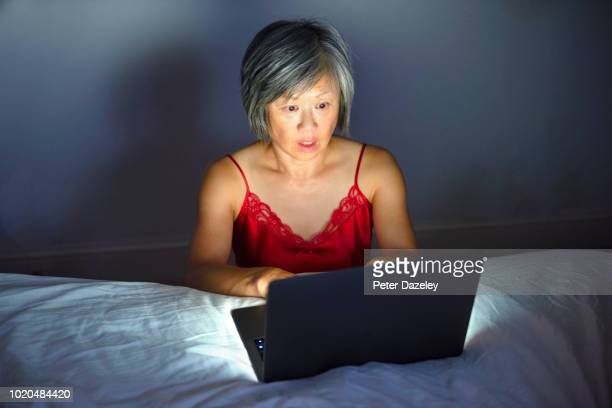 Cyber crime attack on Chinese women using computer at nighttime