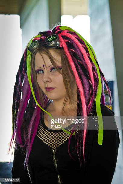 Cyber goth girl with dyed hair Helsinki Finland 2010