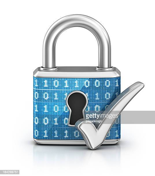 cyber locked padlock and check mark