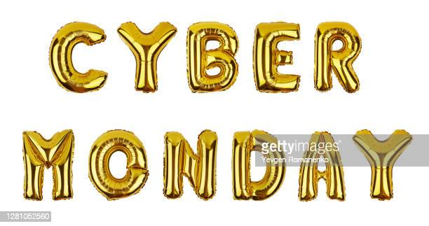 cyber monday text made of foil balloons isolated on white background - cyber monday stock pictures, royalty-free photos & images