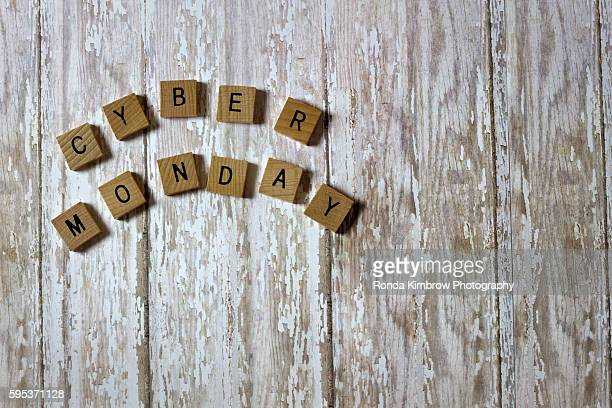 Cyber Monday Tiles on a wood background board
