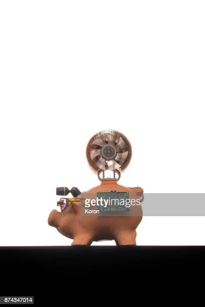 cyber pig bank - technology trade war stock pictures, royalty-free photos & images