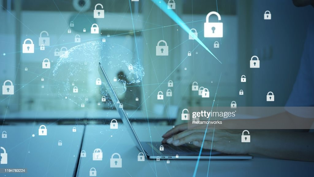 Cyber security concept. Encryption. Secure network. : Stock Photo