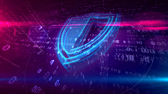 Cyber security digital concept with shield 1126779135