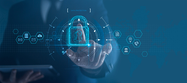Cyber security network. Padlock icon and internet technology networking. Businessman protecting data personal information on tablet and virtual interface. Data protection privacy concept. GDPR. EU. 1165067637