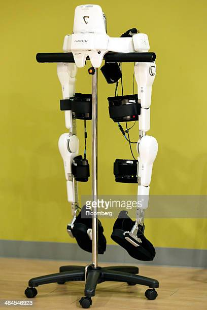 Cyberdyne Inc's lowerlimb model Hybrid Assistive Limb exoskeleton stands on display at the company's training facility in Tsukuba Ibaraki Prefecture...