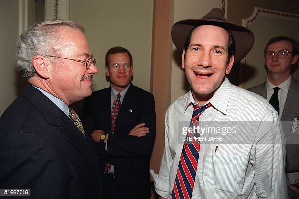 CyberjournaIist Matt Drudge talks to Congressman Bob Barr RGA on Capitol Hill 08 October 1998 after the US House of Representatives voted to proceed...