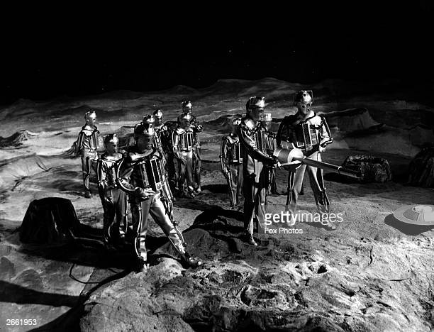 Cybermen on the moon in a scene from the television series 'Dr Who and the Moonbase'
