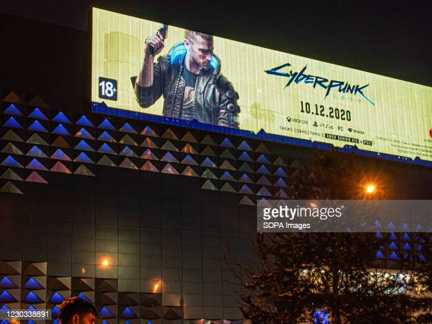 Cyberpunk 2077 advertising seen on the streets of Moscow.