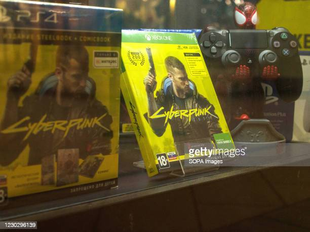 Cyberpunk 2077 games for the Xbox One and PS4 platform seen displayed two weeks after the start of sales of Cyberpunk 2077.