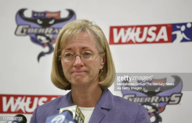SIMON 9/15/2003 CyberRays General Manager Marlene Bjornsrud shows her dissapointment as she answers questions at a news conference announcing that...