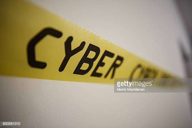 'Cyber'Signation tape is seen at the 33rd Chaos Communication Congress on its opening day on December 27 2016 in Hamburg Germany The annual event is...