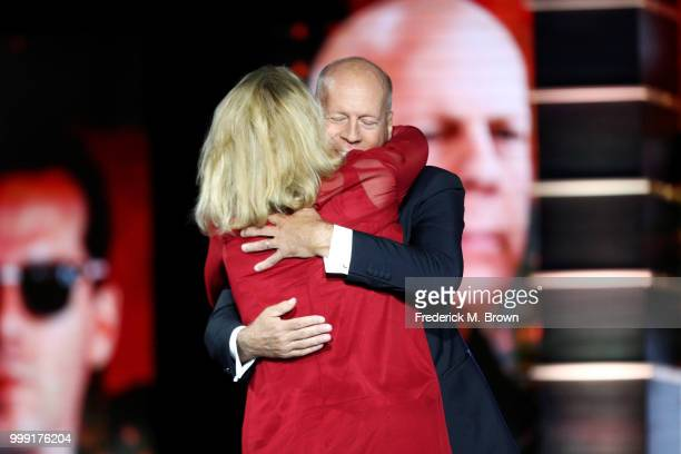 Cybill Shepherd and Bruce Willis speak onstage during the Comedy Central Roast of Bruce Willis at Hollywood Palladium on July 14 2018 in Los Angeles...