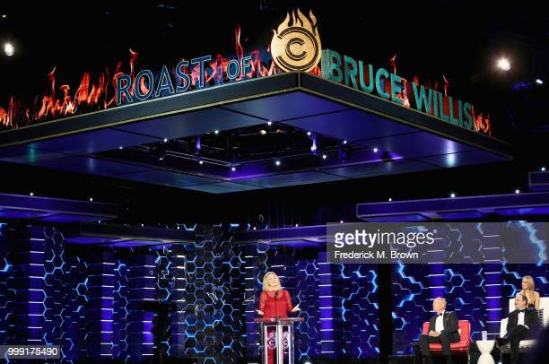 Cybill Shepherd Bruce Willis Nikki Glaser and Kevin Pollak speak onstage during the Comedy Central Roast of Bruce Willis at Hollywood Palladium on...