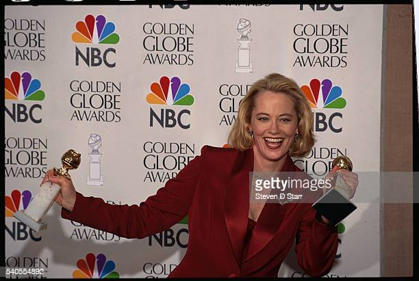 Cybill Shepherd holds her awards at the 53rd Golden Globe Award Ceremony Shepherd won the Best Actress award for her role in the television sitcom...