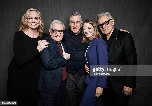 Cybill Shepherd Martin Scorsese Robert De Niro Jodie Foster and Harvey Keitel pose at the 'Taxi Driver' 40th anniversary screening cast portrait...
