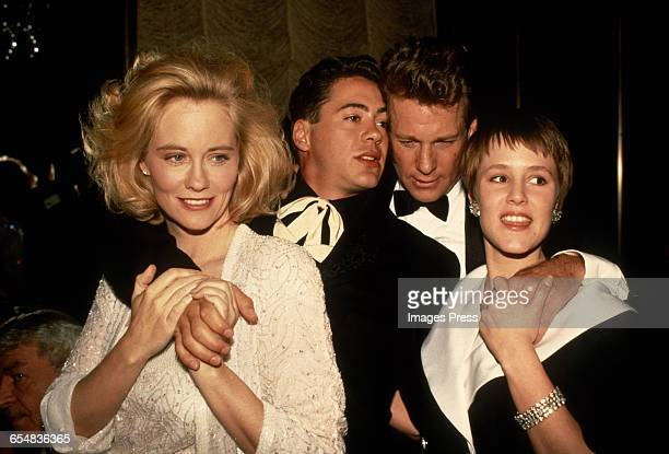 Cybill Shepherd Robert Downey Jr Ryan O'Neal and Mary Stuart Masterson attend the 'Chances Are' Premiere circa 1989 in New York City