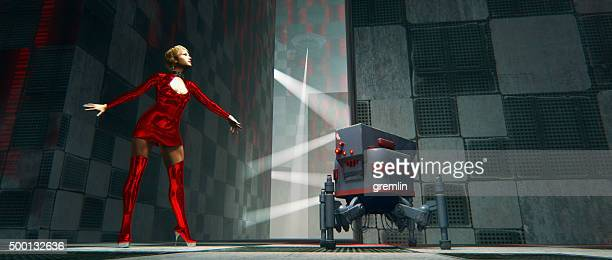 Cyborg et robot futuriste acheté par OVNI, la ville