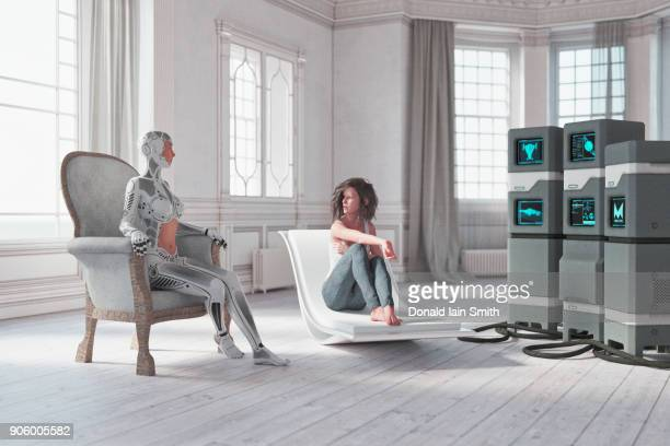 Cyborg and the woman talking near computers