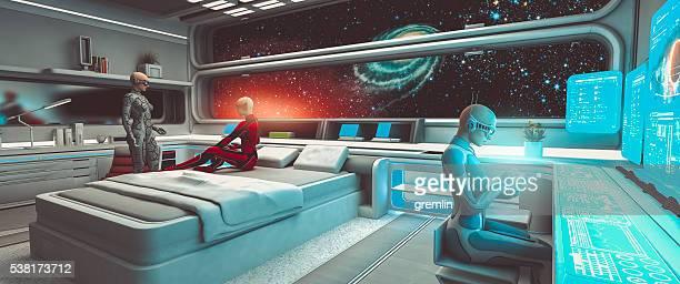 cyborg astronauten, raumschiff, interstellare reisen - außerirdischer stock-fotos und bilder