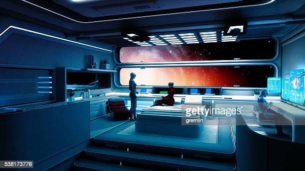 cyborg astronauts, spaceship, interstellar travel - spaceship stock photos and pictures