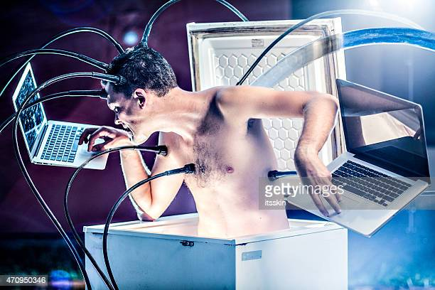 cyborg at work - fake man stock photos and pictures