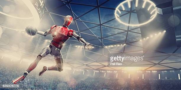 Cyborg Basketball Player About To Slam Dunk During Futuristic Game