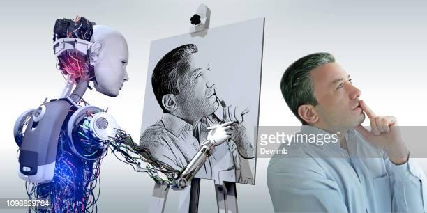 cyborg zeichnung portrait - aktmodel stock-fotos und bilder